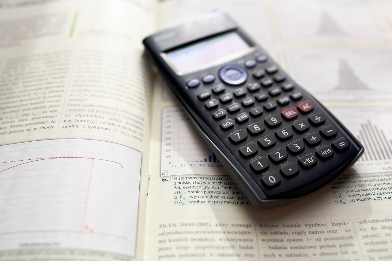 A calculator laying on a book
