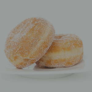 Two doughnuts, of the jam-filled variety, representing one way to look at efficiency