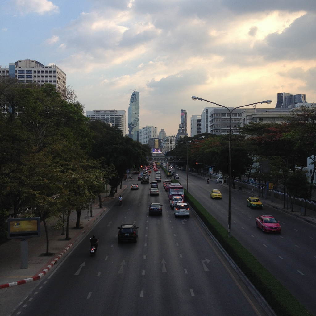 A busy road in Bangkok