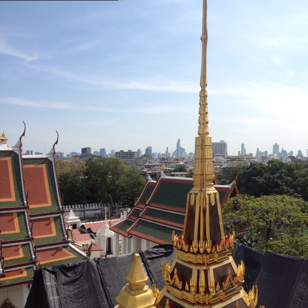 The view from a temple rooftop in Bangkok, Thailand