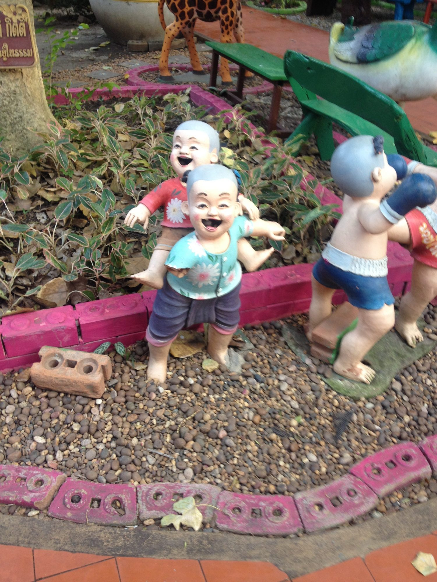 Creepy child figures from Wat Tha Ka Rong in Ayutthya, Thailand