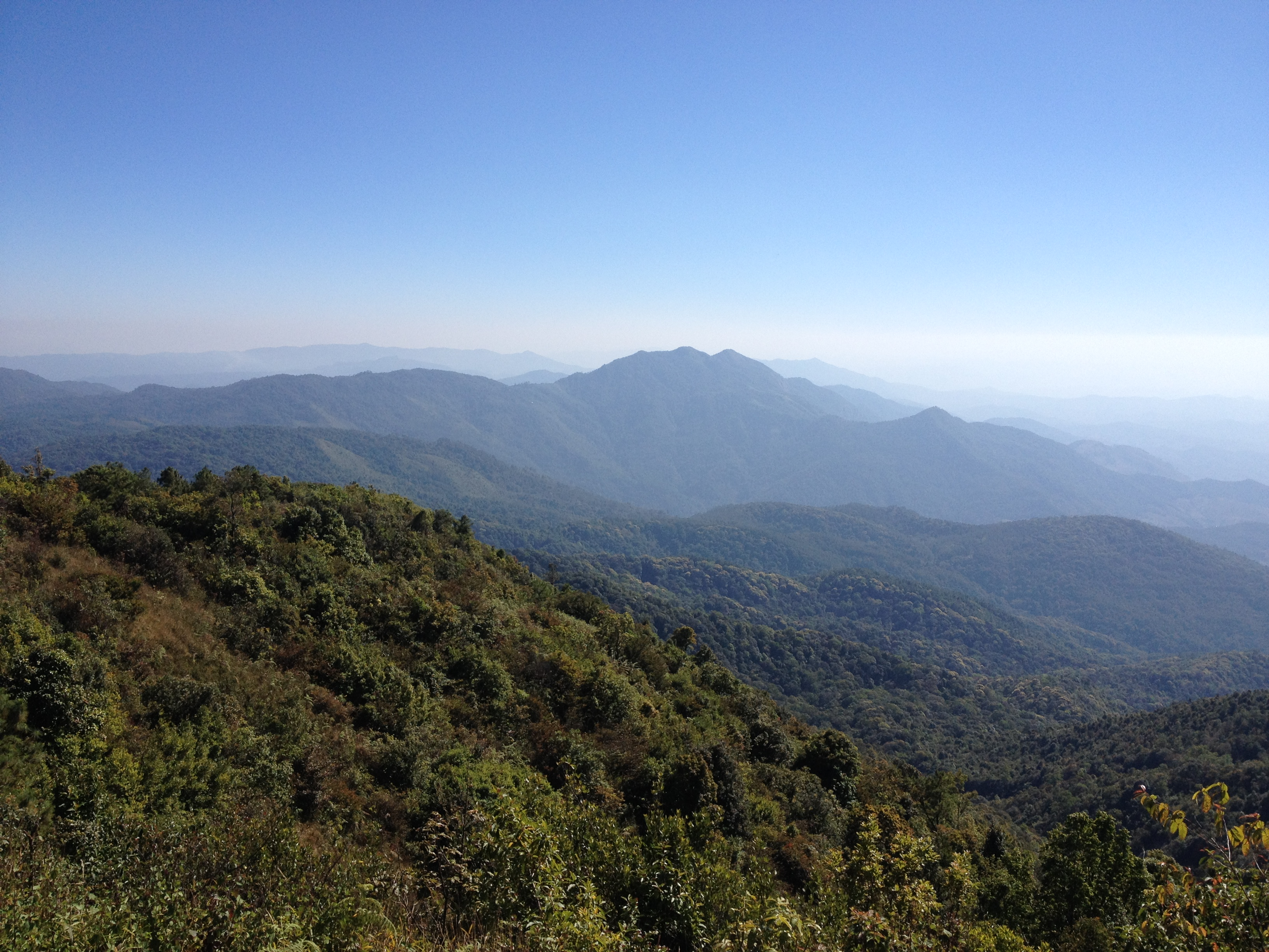 The view from Doi Inthanon, the highest mountain in Thailand