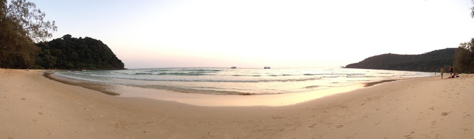 A panorama of Lazy Beach on Koh Rong Samloem
