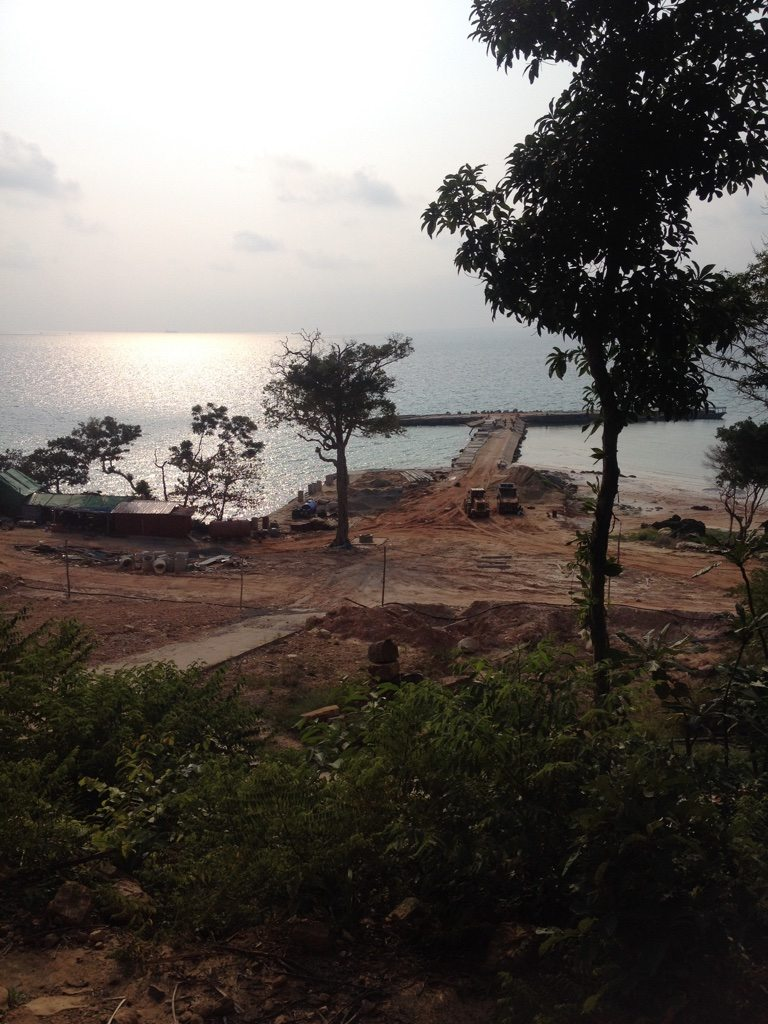 A pier being built at the start of Long Beach on Koh Rong