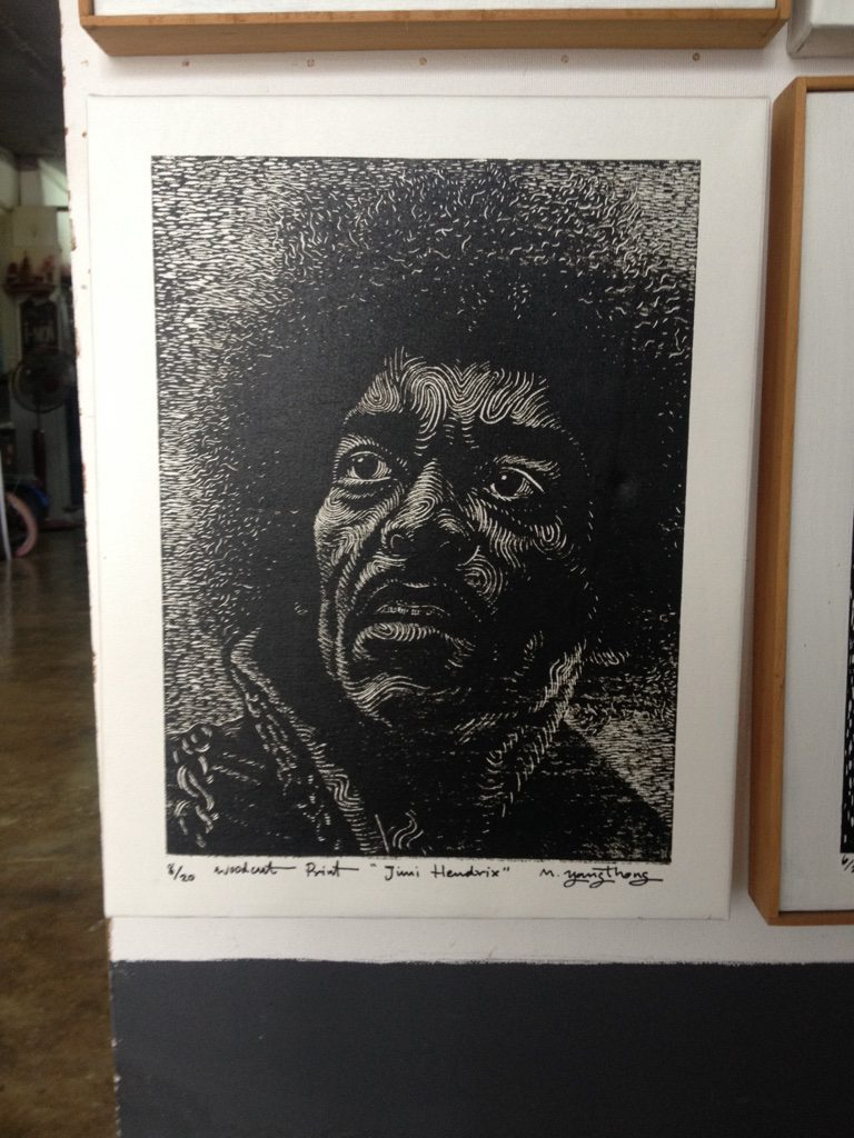 A portrait of Jimi Hendrix from i Mon art gallery in Phuket