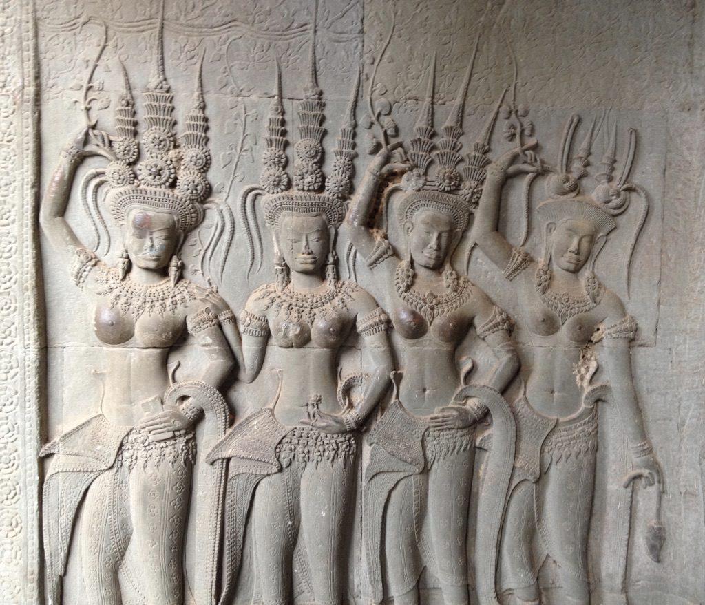A wall carving at Angkor Wat temple complex