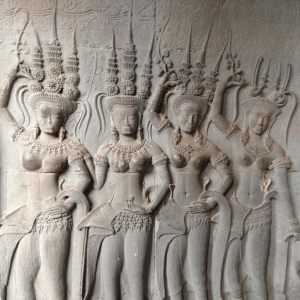 A wall carving at Angkor Wat temple complex