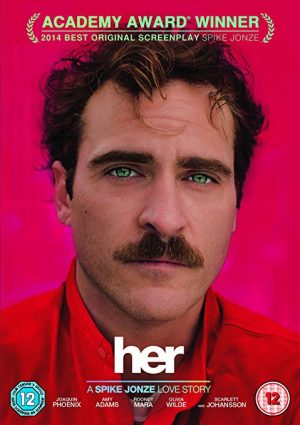 The cover of the DVD for Her, a Spike Jonze love story set in the not-too-distant future