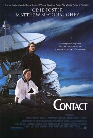 The cover of the DVD for Contact, the film adaptation of Carl Sagan's book on humanity's first contact with extraterrestrials