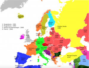 A map showing the last time that each European country was occupied