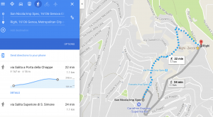 A Google Maps screenshot showing the walking route from San Nola to Righi, showing the gain in height