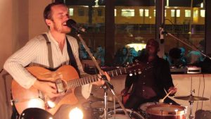 Damien Rice and Earl Marvin performing at Michelberger Hotel, Berlin.
