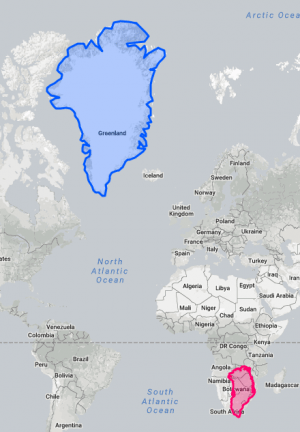 An image showing the size of Greenland on a Mercator map vs. Greenland's actual size, overlaid on the southern tip of Africa
