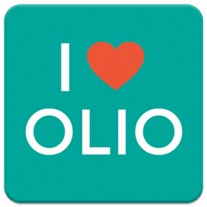 The logo for OLIO, an app that fights food waste by allowing users to find a home for surplus food.