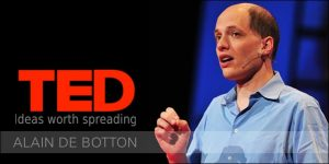 Alain de Botton presenting his TED talk on a kinder, gentler philosophy of success