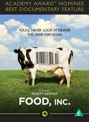 The cover of the film Food, Inc. — a documentary about the US food industry.