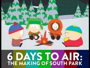 A screenshot from South Park, advertising the documentary 6 Days to Air