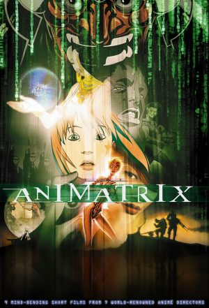 The cover of the DVD for The Animatrix, a set of short films detailing the back story to The Matrix