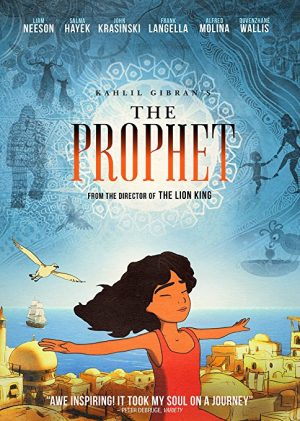 The cover of the DVD of the film The Prophet, based on the book by Khalil Gibran and starring Salma Hayek and Liam Neeson