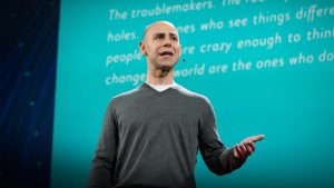 Adam Grant presenting his TED talk on the surprising habits of original thinkers