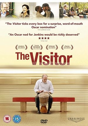 The cover of the DVD for The Visitor, a film about a college professor's friendship with a Syrian-Senegalese couple and their battle against deportation