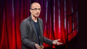 Yuval Noah Harari presenting his TED talk explaining the rise of humans