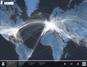 An interactive page from The Guardian showing all the flights worldwide in a 24-hour period