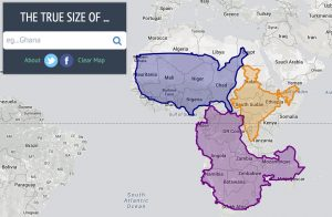 "A screengrab from the ""True Size of"" website, showing the real sizes of land masses"