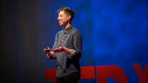 Emilie Wapnick presenting her TED talk on why some of us don't have one true calling