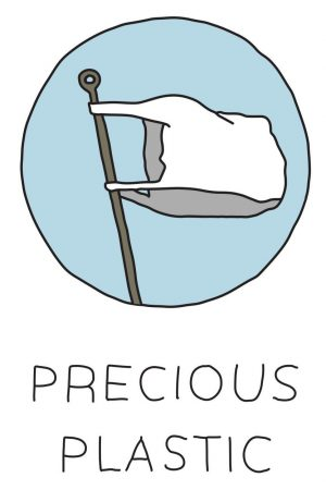The logo for Precious Plastic, a global community of hundreds of people working towards a solution to plastic pollution
